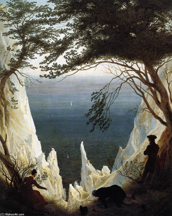 Chalk Cliffs on Rügen, Oil On Canvas by Caspar David Friedrich (1774-1840, Germany)
