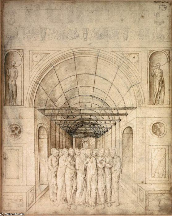 The Twelve Apostles in a Barrel Vaulted Passage, 1440 by Jacopo Bellini (1396-1470, Italy) | Oil Painting | WahooArt.com