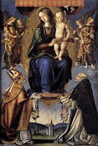Bernardino Di Mariotto Dello Stagno - Madonna and Child with Sts Severino and Dominic
