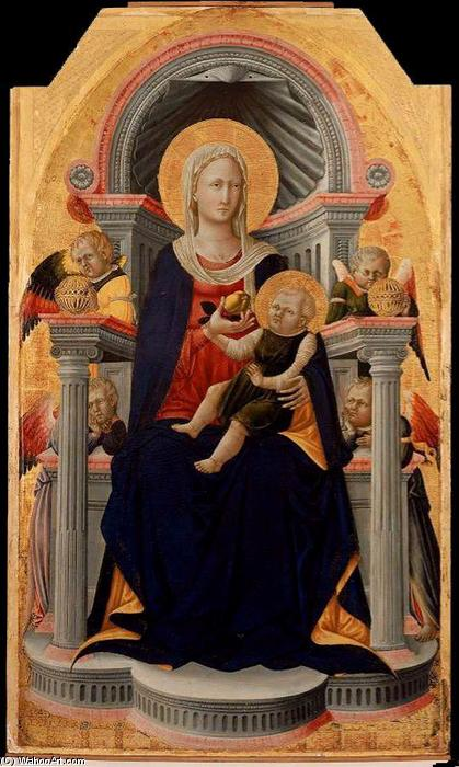 Virgin and Child Enthroned with Four Angels, Tempera by Neri Di Bicci (1418-1492)