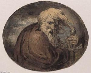 William Blake - Lear Grasping a Sword