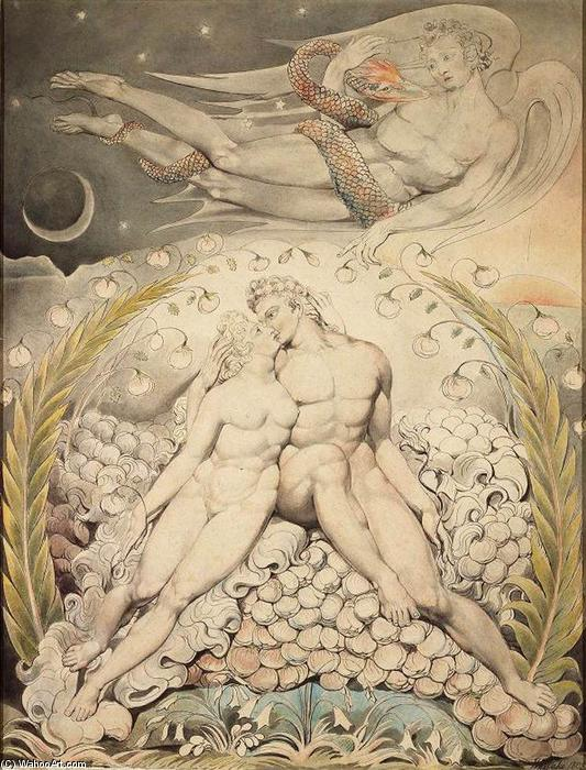 Satan Watching the Caresses of Adam and Eve, 1808 by William Blake (1757-1827, United Kingdom) | Museum Art Reproductions William Blake | WahooArt.com