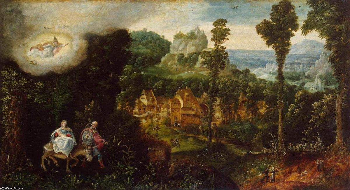 Landscape with the Flight into Egypt by Herri Met De Bles (1500-1555, Belgium) | Oil Painting | WahooArt.com