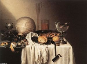 Maerten Boelema De Stomme - Still-Life with a Bearded Man Crock and a Nautilus Shell Cup