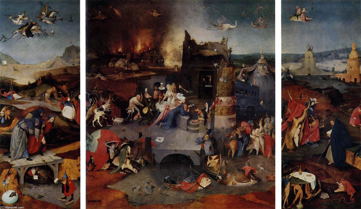 Triptych of Temptation of St Anthony, 1506 by Hieronymus Bosch (1450-1516, Netherlands) | Museum Quality Reproductions | WahooArt.com
