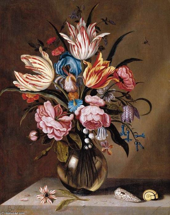 Flowers in a Glass Vase by Abraham Bosschaert (1612-1643, Netherlands) | Oil Painting | WahooArt.com