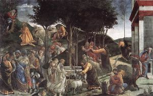 Sandro Botticelli - The Trials and Calling of Moses