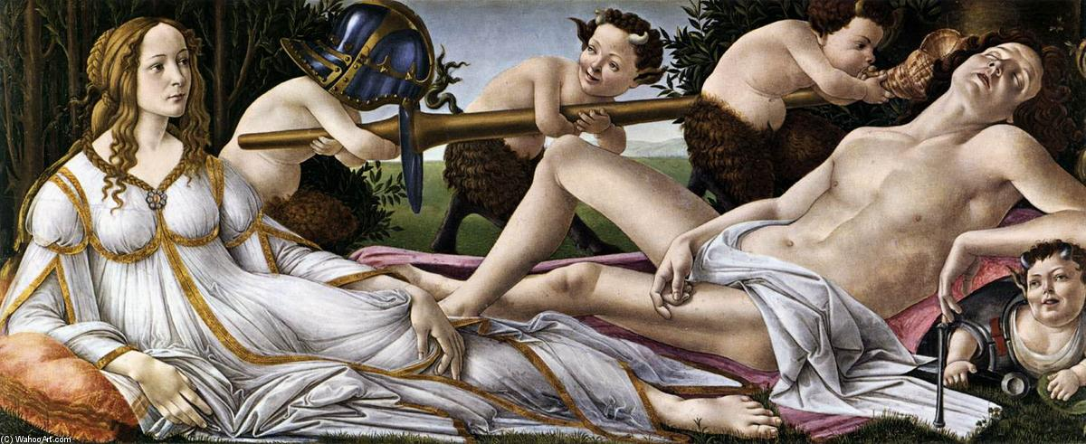 Venus and Mars, 1483 by Sandro Botticelli (1445-1510, Italy) | Museum Quality Reproductions | WahooArt.com