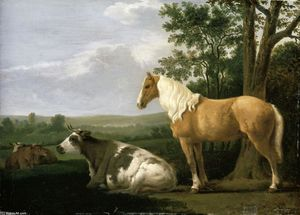 Abraham Pietersz Van Calraet - A Horse and Cows in a Landscape