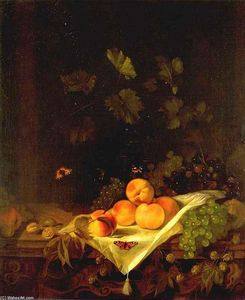 Abraham Van Calraet - Still-life with Peaches and Grapes
