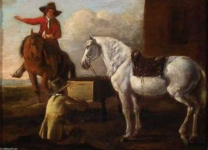 Abraham Pietersz Van Calraet - Young Artist Painting a Horse and Rider