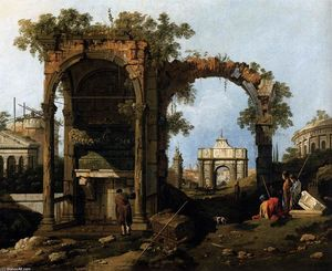 Giovanni Antonio Canal (Canaletto) - Capriccio with Classical Ruins and Buildings