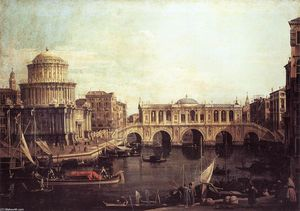 Giovanni Antonio Canal (Canaletto) - Capriccio: The Grand Canal, with an Imaginary Rialto Bridge and Other Buildings