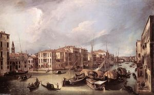 Giovanni Antonio Canal (Canaletto) - Grand Canal: Looking North-East toward the Rialto Bridge