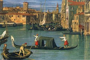 Giovanni Antonio Canal (Canaletto) - The Grand Canal and the Church of the Salute (detail)