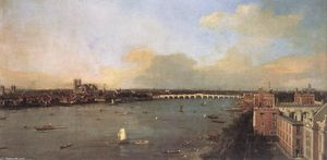 Giovanni Antonio Canal (Canaletto) - The River Thames looking towards Westminster from Lambeth