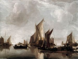 Jan Van De Cappelle - A State Yacht and Other Craft in Calm Water