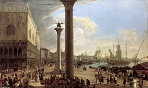 Luca Carlevaris - The Wharf, Looking toward the Doge's Palace