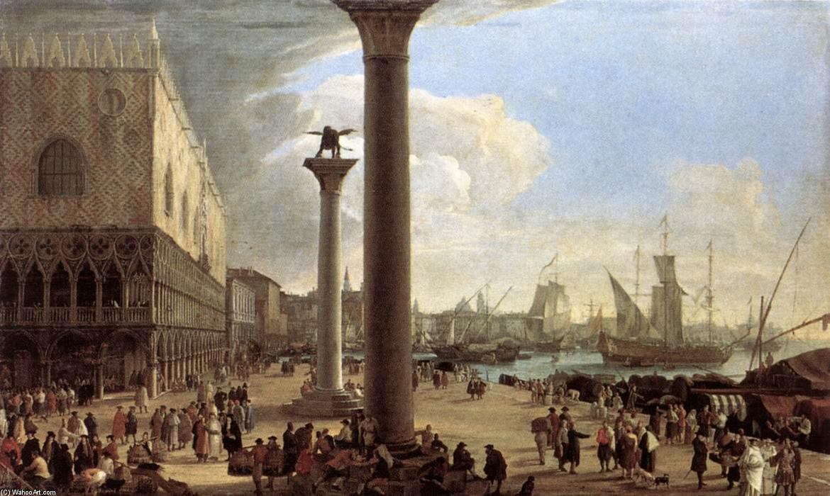 The Wharf, Looking toward the Doge`s Palace by Luca Carlevaris (1663-1730, Italy) | Museum Quality Reproductions | WahooArt.com