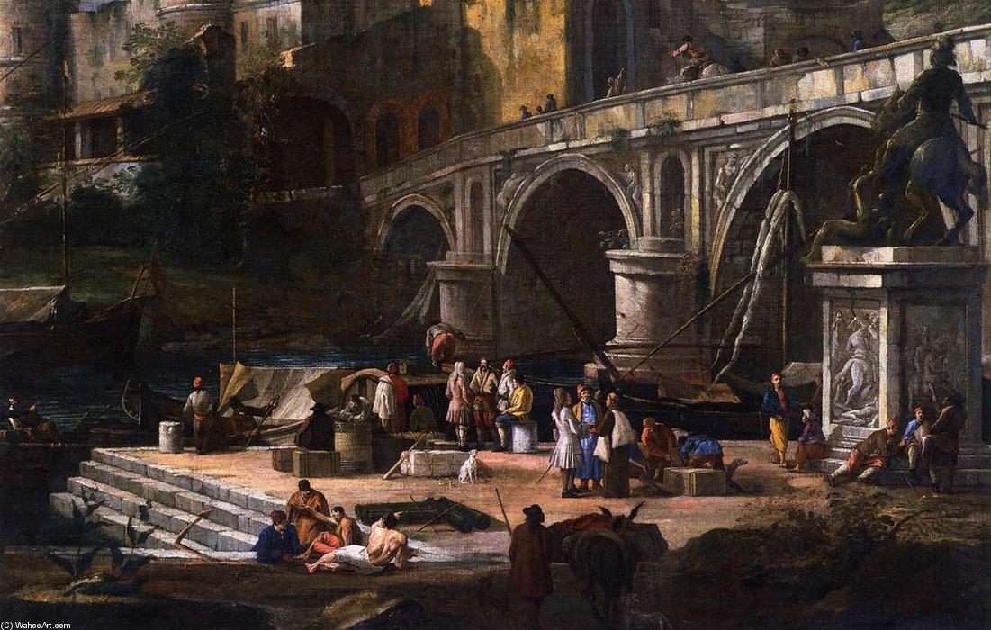 View of a River Port, Oil On Canvas by Luca Carlevaris (1663-1730, Italy)