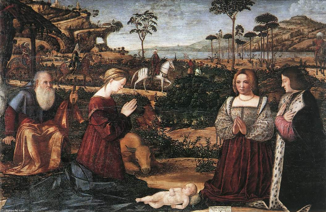 Holy Family with Two Donors, Tempera by Vittore Carpaccio (1465-1526, Italy)