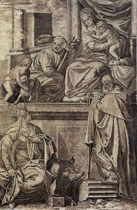 Agostino Carracci - The Holy Family with Sts Anthony Abbot, Catherine and the Infant St John