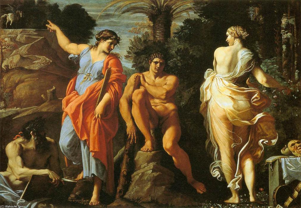 The Choice of Heracles, Oil On Canvas by Annibale Carracci (1560-1609, Italy)