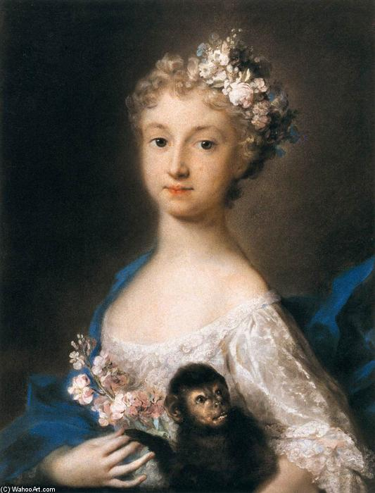 Young Girl Holding a Monkey, 1721 by Rosalba Carriera (1675-1757, Italy) | Museum Quality Reproductions | WahooArt.com
