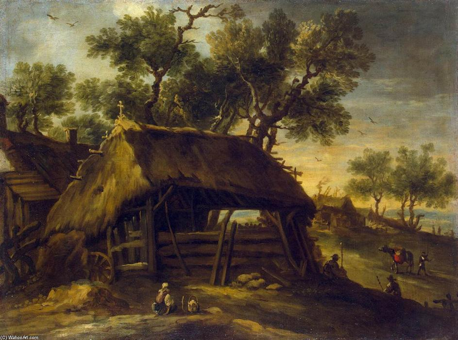 Landscape with Huts, 1650 by Antonio Del Castillo (1616-1668, Spain) | Museum Quality Reproductions | WahooArt.com