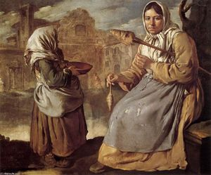 Giacomo Ceruti (Pitocchetto) - Little Beggar Girl and Woman Spinning