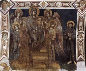 Cimabue - Madonna Enthroned with the Child, St Francis and Four Angels