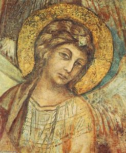 Cimabue - Madonna Enthroned with the Child, St Francis and four Angels (detail)