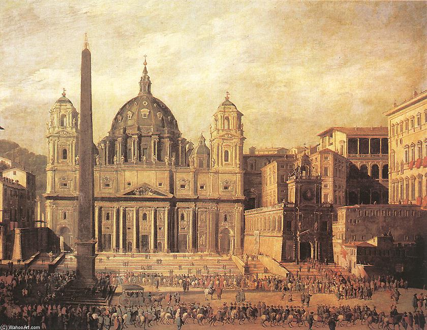 St Peter`s, Rome, 1630 by Viviano Codazzi (1604-1670, Italy) | Famous Paintings Reproductions | WahooArt.com