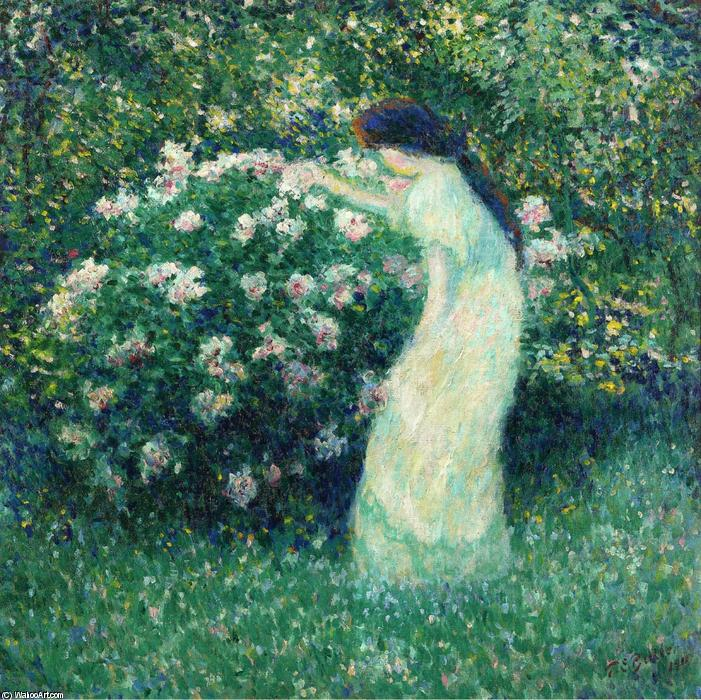 Lili Butler in Claude Monet`s Garden, 1911 by Theodore Earl Butler (1861-1936, United States) | Museum Quality Reproductions | WahooArt.com