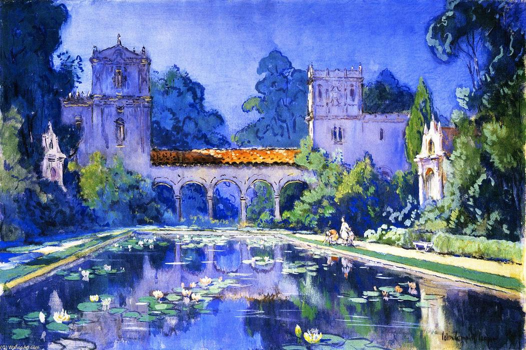 Lily Pond, Balboa Park, 1916 by Colin Campbell Cooper (1856-1937, United States) | Famous Paintings Reproductions | WahooArt.com
