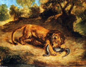 Eugène Delacroix - Lion and Caiman (also known as Lion Clutching a Lizard or Lion Devouring an Alligator)