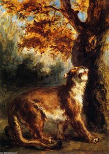 Eugène Delacroix - Lioness Stalking Its Prey (also known as Lioness Standing by a Tree)