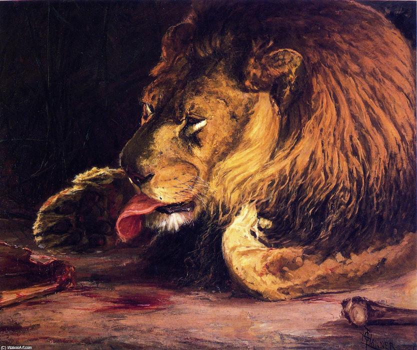 Lion Licking Its Paw, 1886 by Henry Ossawa Tanner (1859-1937, United States) | Oil Painting | WahooArt.com