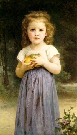 Little Girl Holding Apples, Oil On Canvas by William Adolphe Bouguereau (1825-1905, France)