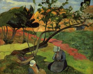 Paul Gauguin - Little Girls (also known as Landscape with Two Breton Girls)