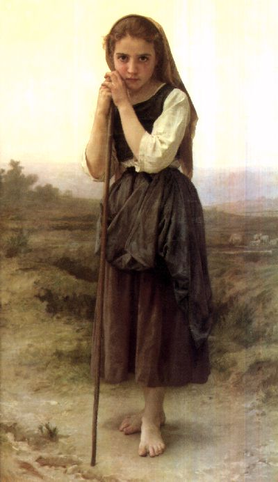The Little Shepherdess, 1889 by William Adolphe Bouguereau (1825-1905, France) | Painting Copy | WahooArt.com