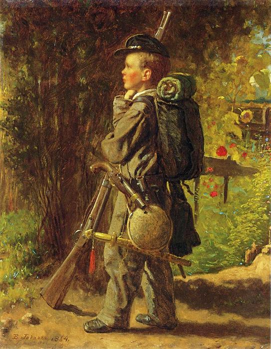The Little Soldier, Oil On Panel by Jonathan Eastman Johnson (1824-1906, United Kingdom)