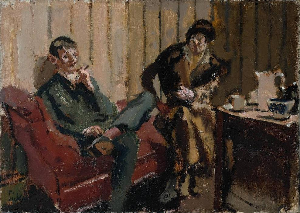 The Little Tea Party: Nina Hamnett and Roald Kristian, 1915 by Walter Richard Sickert (1860-1942, Germany) | Museum Art Reproductions Walter Richard Sickert | WahooArt.com