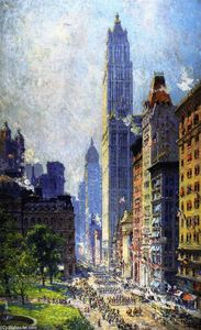 Colin Campbell Cooper - Lower Broadway in Wartime