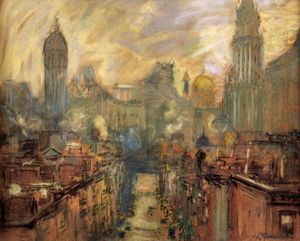 Arthur Clifton Goodwin - Lower New York from Manhattan Bridge