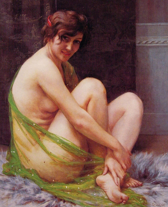 La Paresseuse by Guillaume Seignac (1870-1924, France) | Famous Paintings Reproductions | WahooArt.com