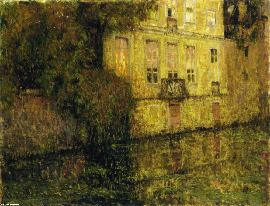 L Quai Vert, Bruges, Oil On Canvas by Henri Eugène Augustin Le Sidaner (1862-1939, Mauritius)