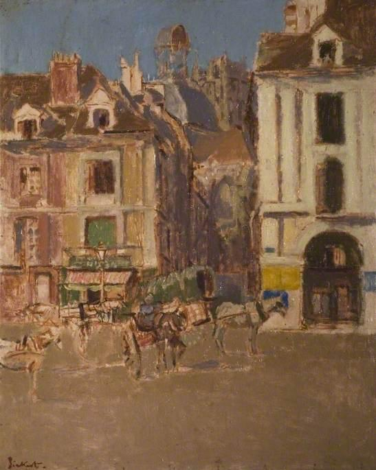 Order Paintings Reproductions | La Rue Notre Dame and the Quai Duquesne, Dieppe, 1902 by Walter Richard Sickert (1860-1942, Germany) | WahooArt.com