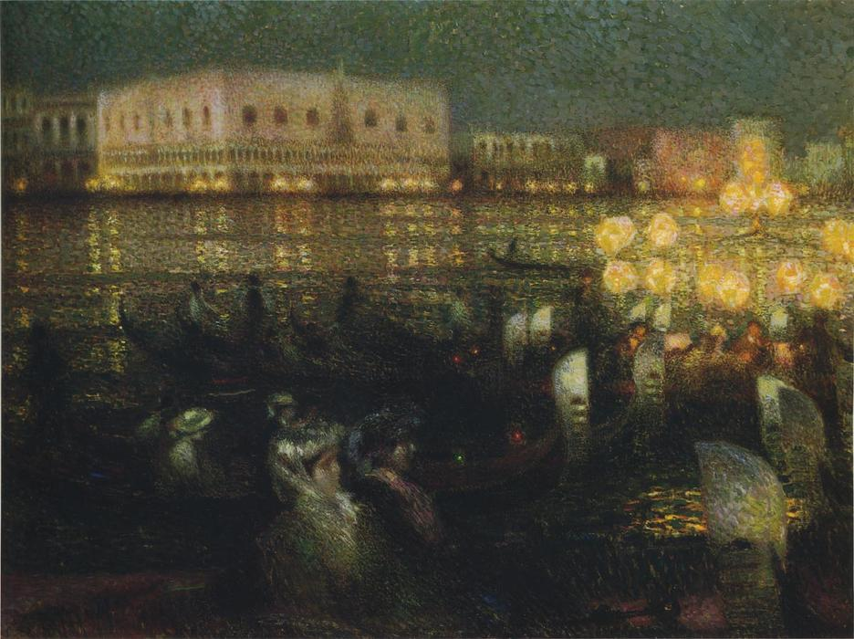 La Serenade, Venice, Oil On Canvas by Henri Eugène Augustin Le Sidaner (1862-1939, Mauritius)