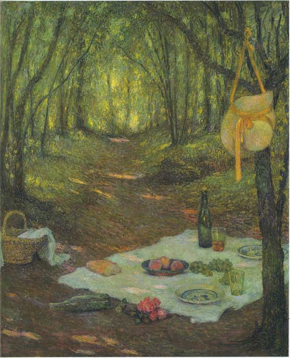 Lunch in the Woods at Gerberoy, Oil On Canvas by Henri Eugène Augustin Le Sidaner (1862-1939, Mauritius)